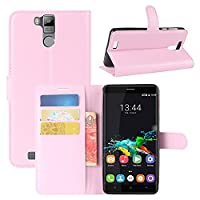 Oukitel K6000 Pro Case, HualuBro [All Around Protection] Premium PU Leather Wallet Flip Phone Protective Case Cover with Card Slots for Oukitel K6000 Pro Smartphone (Pink)