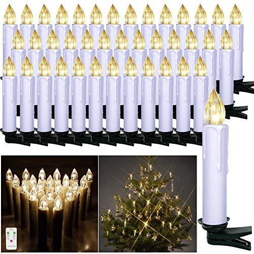 HENGMEI 40er Weihnachtskerzen Christbaumkerzen Christbaumbeleuchtung Warmweiß Flammenlose mit Fernbedienung Weihnachtsbeleuchtung für Weihnachtsbaum, Hochzeit, Partys (40 Stücke)