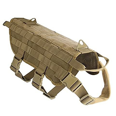 Petcomer Harnais pour chien Structure Spéciale pour Attacher des Poches Gilet en nylon de style militaire idéal pour la Marche, la Randonnée et la Chasse (M, Marron)