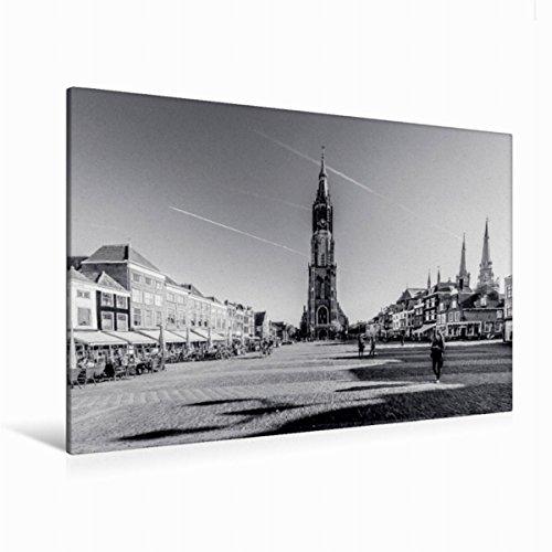 Premium Textil-Leinwand 120 cm x 80 cm quer Blick auf die Nieuwe Kerk | Wandbild, Bild auf Keilrahmen, Fertigbild auf echter Leinwand, Leinwanddruck