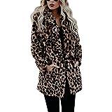 Biback Jacken Damen Mäntel, Frauen Modische Warme Kunstpelzmantel Winter Oberbekleidung Sexy Jacke Damen Mode-Leopard Druck Künstliches Wollen Mantel Langer Modell-Mantel