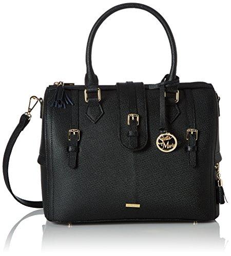 Stella Maris Damen Handtasche Henkeltasche Schultertasche Umhängetasche Fashion Bowling Bag aus Leder Schwarz mit Diamant und herausnehmbarem Taschenorganizer - STMB601-05 (Bowling Rindsleder Bowling-schuhe)