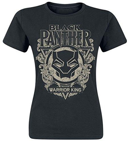 Black Panther Floral Mask Girl-Shirt Schwarz S (Schwarz Shirt Floral)