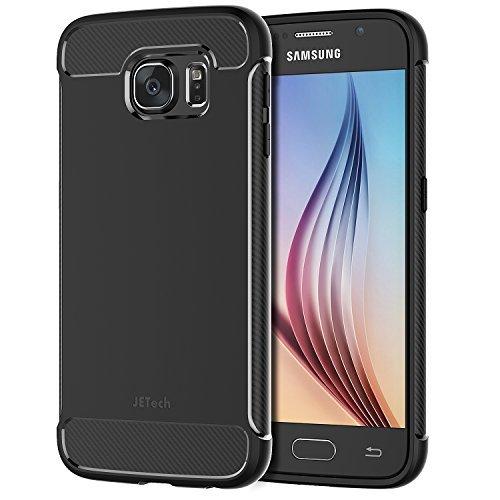 JETech Cover per Samsung Galaxy S6, Custodia con Assorbimento degli Urti e Fibra di Carbonio, Nero