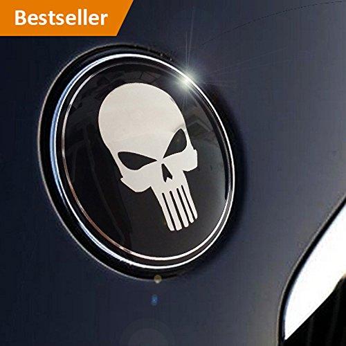 Preisvergleich Produktbild Totenkopf Skull Emblem in schwarz/chrom 82mm by Emblemdeluxe® Fahrzeug Zubehör für Motorhaube,Kofferraum, Heckklappe, kein Aufkleber