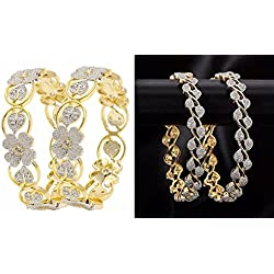 Quail Women's Sparkling Collection Gold Alloy American Diamond Bangle Set Combo for Woman (Pack of 4)