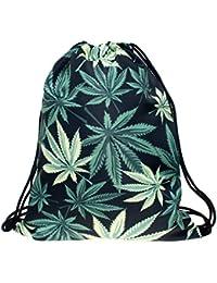 Bolsa Black Weed Bolsa marihuana Hierba cáñamo hojas flores Varios Modelos Bolsa Saco Completo Impreso Full Print All Over Bolsa Saco String Bag yute Bolsa BBW, color Verde - Black Weed, tamaño talla única