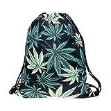 Sacchetto nero per il sacchetto Marihuana nell'erba canapa fogli a forma di fiore per diversi modelli sacchetto sacco con stampa Full Print All Over a forma di sacco in juta con stringhe sacchetto BBW