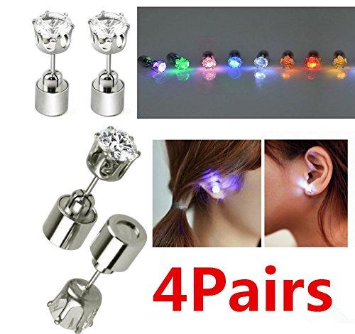 UChic 4 Pairs / 8pieces LED Ohrstecker leuchten blinkende Ohrringe für Halloween, Weihnachten, Party Favors (Farbe nach dem - Halloween-nail-polish-strips