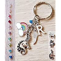 Handmade Personalised Unicorn Initial Rainbow Keyring Bag Charm with Genuine Swarovski Crystal
