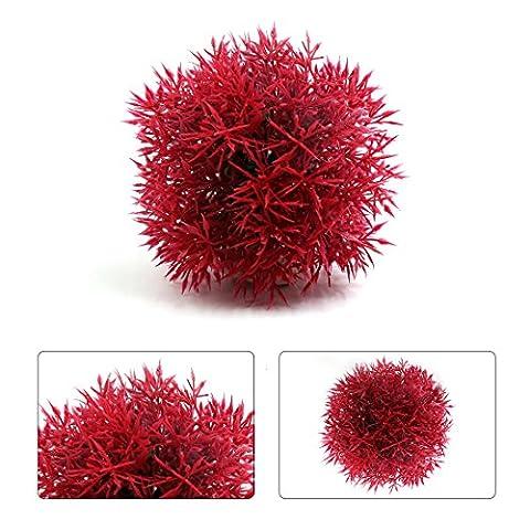 sourcingmap® Rot Plastik Nadel Gras Kugel Aquarium Fisch Tank Aquatisch Pflanzen Ornament