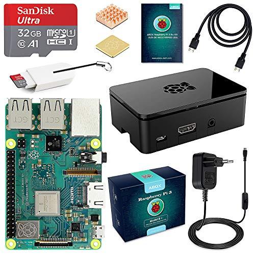 ABOX Raspberry Pi 3 B+ Starter Kit con Micro SD de 32GB Clase 10, 5V 3A  Adaptador de Corriente con Interruptor, 2 Radiadores, Cable HDMI, Caja de