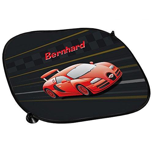 Auto-Sonnenschutz mit Namen Bernhard und schönem Racing-Motiv für Jungs - Auto-Blendschutz - Sonnenblende - Sichtschutz