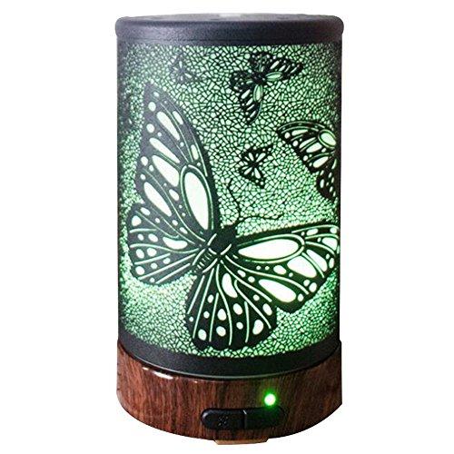 Humidificador Aromaterapia Ultrasónico Arte de Hierro Difusor de Aceites Esenciales 7-Color LED Lámparas Operación silenciosa y Purificación de Aire Interior y Rociador Giratorio para Bebes Hogar Ofic , Butterfly , 100ml