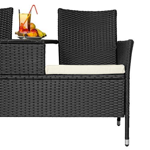 TecTake Sitzbank mit Tisch Poly Rattan Gartenbank Gartensofa inkl. Sitzkissen – diverse Farben – (Schwarz   Nr. 401547) - 5