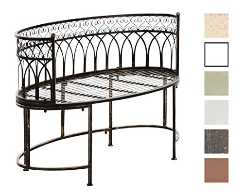 CLP Metall-Gartenbank AMANTI mit Armlehne, Landhaus-Stil, Eisen lackiert, Design antik nostalgisch, Form oval ca. 110 x 55 cm Bronze