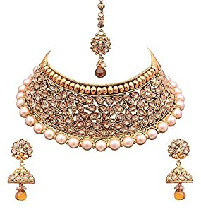 Crunchy Fashion Gold-Plated Kundan Necklace Set for Women