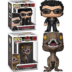 Funko POP! Jurassic Park: Dr Ian Malcolm + Velociraptor – Vinyl Figure Set NEW
