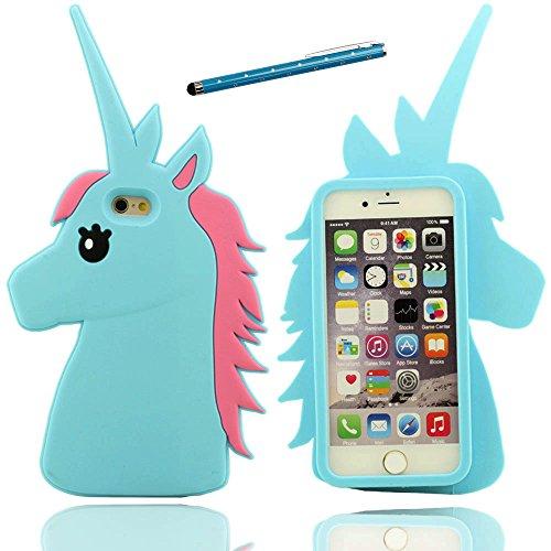 iPhone 7 Coque Case Doux Silicone Plastique Gel Housse de Protection Anti Choc Beau 3D Catoon Cheval Désign Etui Apple iPhone 7 4.7 inch X 1 stylet bleu