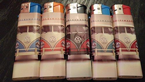 1 Set a 5 Elektronikfeuerzeuge, neu, Wiederbefüllbar, OVP, Motiv VW Classics, der Samba (Delfine Uniform)