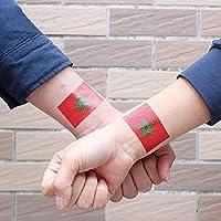 Shuzhen,Bandera marroquí fútbol Cuerpo Tatuaje Pegatinas(Color:Multi)