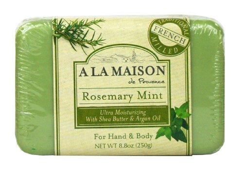 A La Maison Pain de savon ultra-hydratant Rosemary Mint- A la menthe et au romarin, à l'huile d'argan et au beurre de karité - 250 g