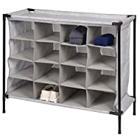 Sohler By Eurotrade W Ltd Portable 4 Tier 16 Grid Pairs Rack Shelf Shoes Storage Closet Trainers Boots Organiser Cabinet Stand, Metal, Fabric, Multicolour, 80 x 72 x 30 cm