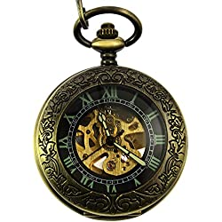 Itemstoday Mechanical Automatic Steampunk Half Hunter Mens Pocket Watch with Chain and Gift Box