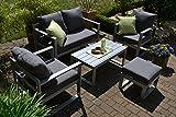 bomey Aluminium Lounge Set I Gartenmöbel Set Lyon 5-Teilig I Essgarnitur Alu mit Polstern I Sitzgruppe Silber + Tisch + Polster Grau I Dining Lounge für Terrasse + Wintergarten