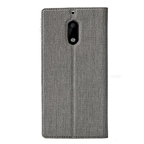 Nokia 6 Hülle,Eactcoo Dünn Premium PU Leder klappbares Folio Flip Case Book TPU Cover Bumper Tasche Mit Standfunktion Magnetverschluss Kartenfach Wallet Handyhülle Für Nokia 6 (Red) Gray