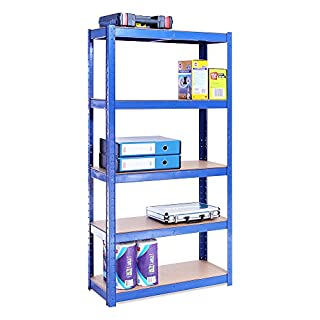Garage Shelving Units: 150cm x 75cm x 30cm | Heavy Duty Racking Shelves for Storage - 1 Bay, Blue 5 Tier (175KG Per Shelf), 875KG Capacity | For Workshop, Shed, Office | 5 Year Warranty
