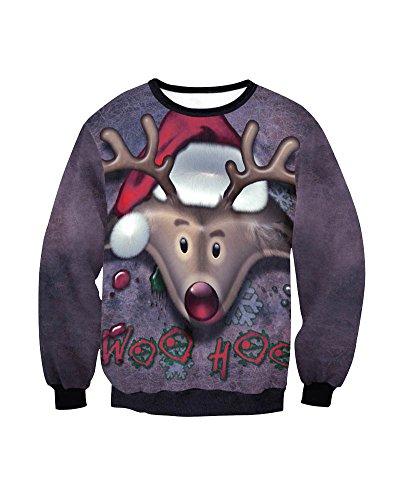 Donna 3D Digital Stampato Santa Natale Sweatshirt Girocollo Ugly Inverno Felpa Con Grandi Tasche Stile 5
