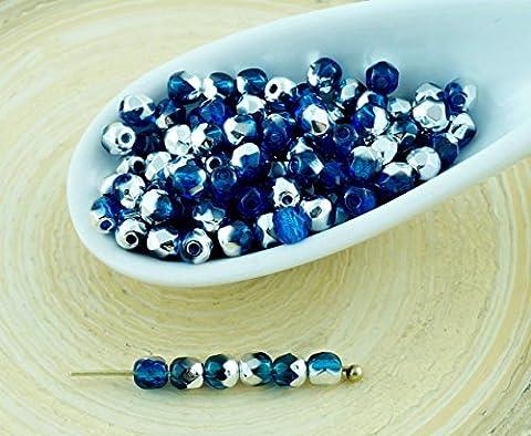 100pcs Cristal Capri aigue-marine Bleu Argent Demi-Rond à Facettes Feu Poli Verre tchèque Perles de Petit Écarteur 3mm
