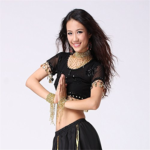 Women Sexy Dance Tops Bauchtanz Costume Embroidered With Coins Short Top Dancewear Bauchtanz Tops Black