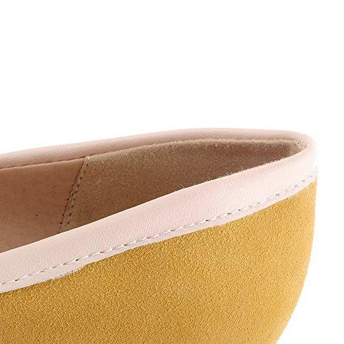 AllhqFashion Femme Rond à Talon Haut Dépolissement Couleurs Mélangées Tire Chaussures Légeres Jaune