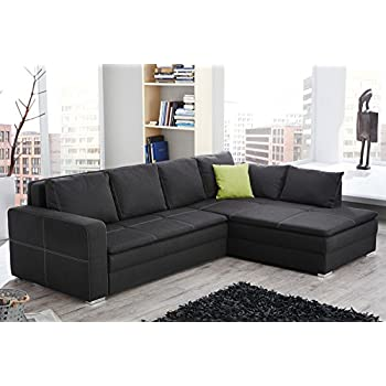 boxspring ecksofa central grau strukturstoff ottomane frei. Black Bedroom Furniture Sets. Home Design Ideas