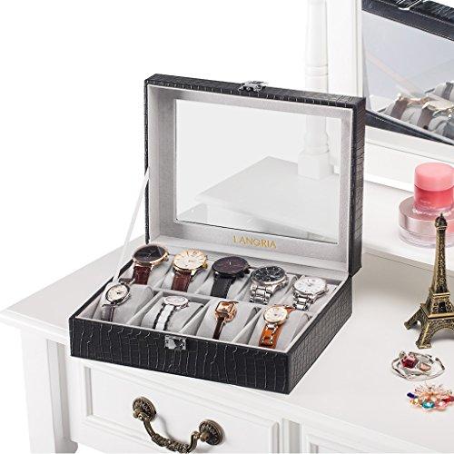 LANGRIA Caja para Relojes en Piel Cocodrilo Sintética de 9 Compartimentos con 9 Cojines Extraíbles y Accesorios Interior Aterciopelado Tapa de Cristal Cierre Metálica (Negro/Interior Gris)