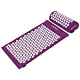 INTEY Kit d'Acupression Tapis Coussin de Massage pour Yoga Traitement des Douleurs Tensions Violet/Vert