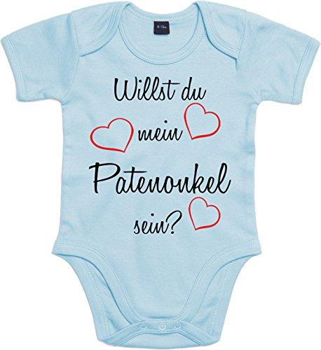 Mister Merchandise Baby Body Willst du mein Patenonkel sein? Strampler liebevoll bedruckt Pate Patenschaft Taufe Hellblau, 0-3