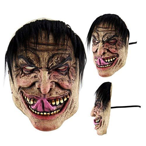Masken beängstigend Jason Voorhees Horror-Kostüm Blood Creepy Spooky Latex (schwarzes Haar & Zunge) ()