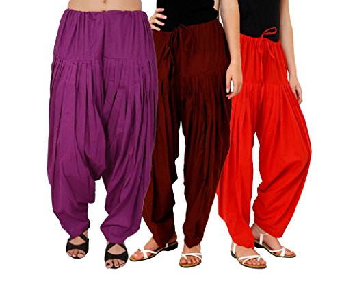 Luvcare 100% Pure Cotton Patiala Salwar For Womens(Purple, Brown And Red)