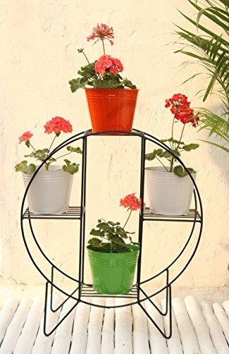 Green Gardenia Iron Hoop Round Pot Stand With 4 Metal Planter in Orange,White & Green