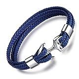 Unendlich U Herren Handgefertigt Anker-Armband Armbänder 22.5cm lang aus hochwertigem Kunst-Leder mit Edelstahl Anker für Männer