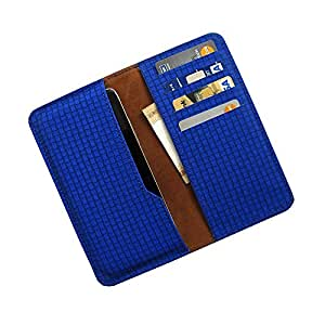 i-KitPit : PU Leather Wallet Flip Pouch Case For Lava iris 506Q (BLUE)