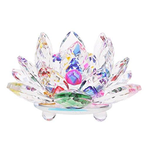 Homyl Mini Modelo Ornamento de Feng Shui de Budista Flor de Loto de Cristal Decoración de Casa Oficina - Multi