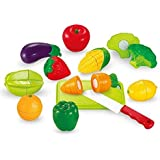 Mayatra's Realistic Sliceable 15 Pcs Fruits Cutting Play Toy Set, Can Be Cut In 2 Parts