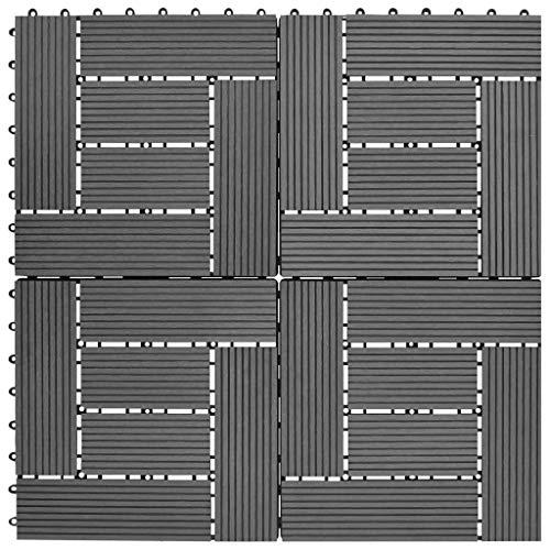 vidaXL 11x Carreaux de Platelage WPC Gris Panneau de Platelage de Jardin