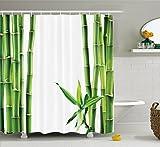 Abakuhaus Duschvorhang, Zweige Einer Bambuspflanze die im Tropisch Klar Grün Hervorscheint Natürliche Darstellung, Blickdicht aus Stoff inkl. 12 Ringen Umweltfreundlich Waschbar, 175 X 200 cm