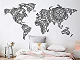 Terilizi Mandala World Map Wall Sticker Bedroom Decor Yoga Wall Vinyl Art Pattern Wall Decal Modern Boho Style Home Decor Mural-113X56 cm