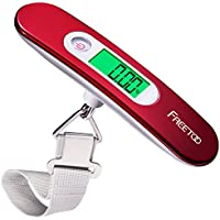 FREETOO Portable Luggage Scale Digital Travel Scale Suitcase Scales Weights with Tare Function 110 lb/ 50KG Capacity Red